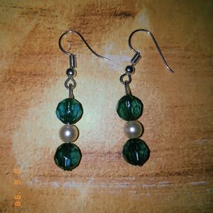 Jade pearl earrings